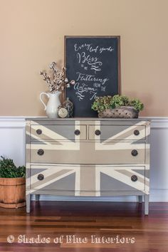Neutral Union Jack and Autumn Vignette - Using a neutral color palette with the ever-popular, Union Jack design, makes this dresser a statement piece that is mo…