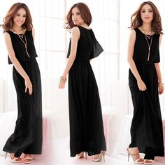 Womens Loose Chiffon Maxi Dress