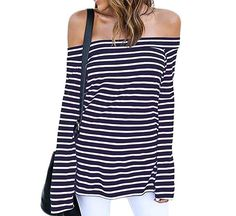online shopping for ZJCT Womens Sexy Off The Shoulder Tops Belled Long Sleeve Shirts Striped Juniors Casual Tops from top store. See new offer for ZJCT Womens Sexy Off The Shoulder Tops Belled Long Sleeve Shirts Striped Juniors Casual Tops Striped Long Sleeve Shirt, Long Sleeve Tops, Long Sleeve Shirts, Striped Shirts, Casual Tops, Casual Shirts, Casual Wear, Casual Outfits, Off Shoulder Shirt