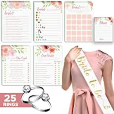 Floral Bridal Shower Games – Set of 6 Cards Each) w/ Bride to Be Sash & 25 Adjustable Silver Diamond Engagement Rings – Luxury Pre-Wedding Party Favor Accessories Fun Bridal Shower Games, Bridal Bingo, Bridal Games, Wedding Games, Bridal Shower Decorations, Bridal Showers, Pre Wedding Party, Wedding Party Favors, Luxury Engagement Rings