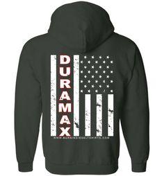 Duramax Diesel Truck White Flag Zip-Up Hoodie