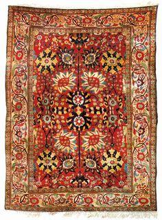 Antique Silk Heriz Armorial Carpet