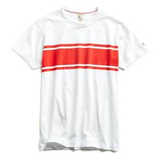 Todd Snyder + Champion Chest Stripe Tee in White Todd Snyder Champion, Champion Logo, Secluded Beach, Upstate New York, Striped Tee, Workout Pants, Tees, Shirts, Sleeves