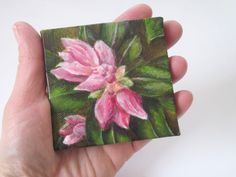 Small Floral Still Life Painting - Original Acrylic Painting on Canvas - Pink Flower Garden