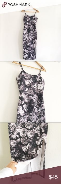 Front Slit Floral Midi Bodycon Dress Beautiful body hugging dress with front slot. Elegant and sexy dailylook Dresses Midi