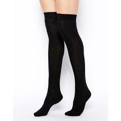 ASOS Over The Knee Socks ($7.58) ❤ liked on Polyvore featuring intimates, hosiery, socks, accessories, black, e-hosiery, meias, overknee socks, asos socks and over the knee hosiery