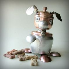 robot dog recycled art sculpture treat container by leuckit, $130.00