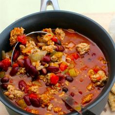 Slow Cooker – Spicy Three Bean Turkey Chili // Have to figure out a way to do it without peppers or tomatoes...
