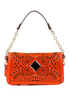 Nicole Lee Handbags Arianna Two-tone Cut-out Small Shoulder Bag-Orange $35 on BrandsExclusive