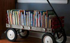 Repurposed Toy Storage Ideas | Wagon Bookshelf - so cute!