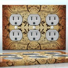 DIY Do It Yourself Home Decor - Easy to apply wall plate wraps   Analysis of Thoughts  Brown flower pattern  wallplate skin sticker for 3 Gang Wall Socket Duplex Receptacle   On SALE now only $5.95