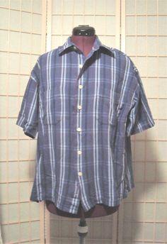 St. John's Bay Sz M Men's Blue Striped Button Front Shirt #StJohnsBay #ButtonFront