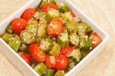 Sautéed Okra and Tomatoes: This quick sauté of sliced okra, sweet onion and garlic combined with fresh tomatoes makes a nice accompaniment for Southern-style entrées.
