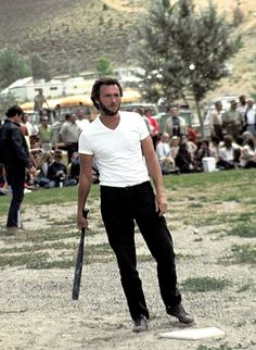Clint Eastwood plays baseball on the set of High Plains Drifter.  Photographed by Douglas Jones, 1973.