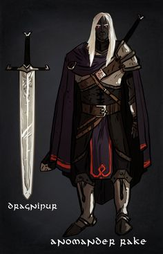[Malazan Fanart] Anomander Rake by DeathriS on DeviantArt. I like some aspects of the costume here but Dragnipur's blade is black.