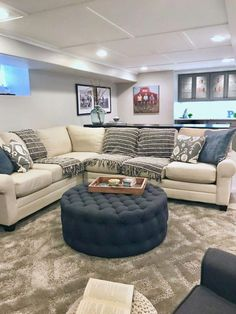 A HGTV Fixer Upper inspired basement remodel with cozy neutral furniture and bright painted interior. - July 13 2019 at Basement Makeover, Basement Renovations, Home Remodeling, Basement Ideas, Basement Plans, Walkout Basement, Basement Decorating Ideas, Interior Decorating, Interior Paint
