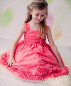 Look at this Kid's Dream Coral Lace Rosette Dress - Toddler & Girls on today! Flower Girls, Coral Flower Girl Dresses, Cute Little Girl Dresses, Cute Girl Outfits, Toddler Girl Dresses, Girls Dresses, Toddler Girls, Toddler Stuff, Kids Girls