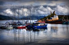 Kyleakin Harbour and approaching storm. Isle of Skye, Scotland.