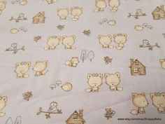 Flannel Fabric  Baby Foxes on Blue  1 yard  100% by SnappyBaby