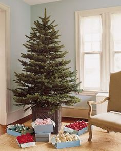 Great idea! ... Place Tree Stand in a Watertight Planter- The effect is a more tailored look than a tree skirt; it also creates extra room for presents.