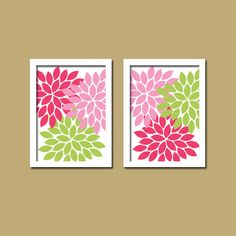 Bold Colorful Pink Green Floral Flower Burst Set of 2 Prints Wall Decor Abstract Art Bedroom Bathroom Nursery Picture Crib via Etsy