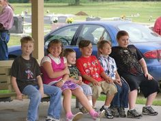 some of the grandkids at the memorial service.. justice, liberty, michael, daniel, freedom and colin :)
