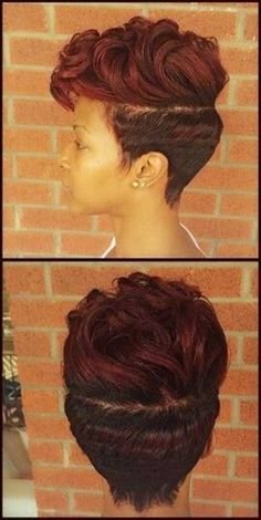 Cute Red Colored Black Short Hairstyles