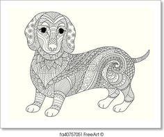 Kostenloses Ausmalbild Hund - Dackel. Die gratis Mandala ...