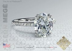 Oval diamond solitaire engagement ring with micro pave