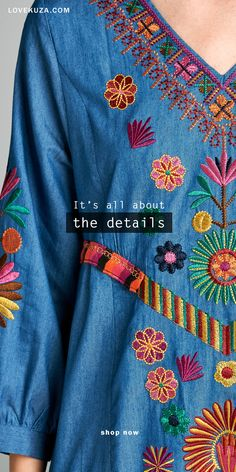 Vibrant floral embroidery and classic blue chambray maxi dress, it's all about the details. A fashionable piece that will never go out of style.