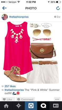 Bright summer look. White shorts