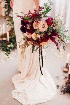 burgundy fall winter wedding bridal bouquet