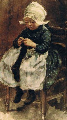 Breien leren. Dutch girl knitting stocking - Volendam