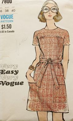 1960s One Piece Dress Pattern Vogue 7800 by BluetreeSewingStudio