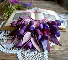 Necklace made of silk cocoons dyed purple burgundy от batikelena