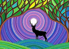 'Moon-Tree Mandala' by Elspeth McLean Mandala Art, Mandala Painting, Mandala Design, Kunst Der Aborigines, Elspeth Mclean, Dot Art Painting, Inspiration Art, Canvas Prints, Art Prints