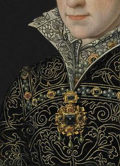 Antonio Mor (c. 1517 - Portrait of Mary I, Queen of England in an embroidered dress, detail . why do I feel like a handless every time I see such work.peasantse,servants,slaves made it at the time ! Mode Renaissance, Renaissance Jewelry, Renaissance Fashion, Elizabethan Fashion, Medieval Jewelry, Historical Costume, Historical Clothing, Fashion History, Fashion Art