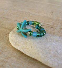 Blue and Green Starfish Ring, Adjustable, Beach and Ocean Jewelry, Turquoise and Green