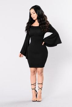 - Available in Black and Taupe - Off Shoulder Dress - Bell Sleeve - Midi Length - Made in USA - 96% Polyester 4% Spandex