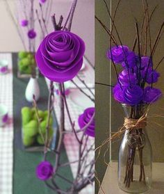 Paper Flower Centerpiece Ideas - they dont have to be paper. A few purple roses and twigs could look cool