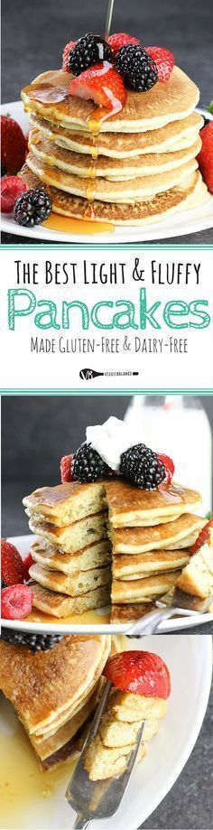 Best Gluten-Free Buttermilk Pancakes recipe, the only recipe you'll ever need for classic buttermilk pancakes that are light and fluffy. Just 77 calories per pancake! {Gluten-Free, Dairy-Free, Low-Sugar} (Fluffy Pancake For Gluten Free Cooking, Gluten Free Desserts, Dairy Free Recipes, Vegan Gluten Free, Gluten Free Recipes For Breakfast, Gf Recipes, Dessert Recipes, Dinner Recipes, Dairy Free Pancakes
