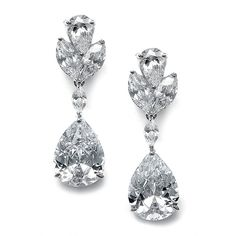 Mariell CZ Bridal Dangle Earrings with Bold Pear-Shaped Zircon Teardrops - Genuine Platinum Plated *** Click on the image for additional details. (This is an affiliate link) #JewelryDesign
