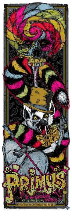 Limited edition, silkscreen poster by Rhys Cooper for Primus. Tour Posters, Band Posters, Music Posters, Retro Posters, Rock Roll, Rhys Cooper, Desenho Tattoo, Poster Series, Concert Posters