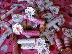 """scrapbook paper-covered Rolos candy with tags, """"I like the way you roll"""" :)"""