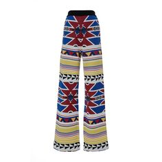 Stella Jean Assicurare Knit Trouser ($695) ❤ liked on Polyvore featuring pants, tribal print pants, relaxed pants, pull on pants, white knit pants and knit pull on pants