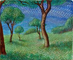 PEINTURE : Roşu-Gutman Daniel peint des paysage avec des aspects d'impressionnisme et de pointillisme avec un style distinctif.