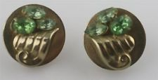 Vintage Coro green rhinestone gold tone 1950's round scallop clip on  earrings