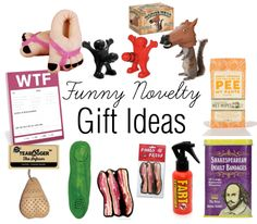 Funny Novelty Gift Ideas - Feet Slippers, Wine Stoppers, Horse Head Squirrel Feeder, Pee Wipes, WTF Sticky Notes, Tea Bagger Tea Infuser, Yodelling Pickle, Bacon Car Air Freshener, Fart Extinguisher, Shakespearean Insult Bandages
