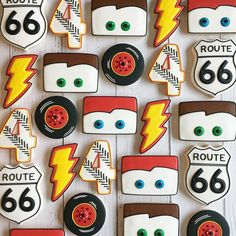 :cars inspired cookies for a birthday!:cars inspired cookies for a birthday! Car Themed Parties, Cars Birthday Parties, Happy Birthday, 3rd Birthday, Cars Themed Birthday, Birthday Ideas, Disney Cars Cake, Disney Cars Party, Disney Cars Birthday