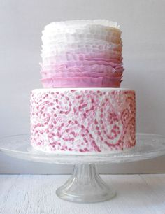 Pink piped and ruffled cake